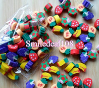 Wholesale 1000pcs Novelty Fruit Pencil Rubber Eraser Erasers Stationery Kid Students Gift Toy Mixed Styles