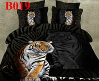 achat en gros de reine coverlet mettre rouge-Hot Reactive lit 3d imprimé taille / des draps housse de couette rouge de noir fixé 3d literie setlinen coton reine roi rose Coverlet couverture de conception Tiger