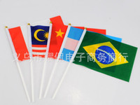 Wholesale soccer fans hand signal flags small flag Polyester national flag for Brazil World Cup via DHL