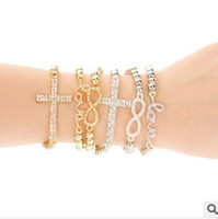 Wholesale EMS Diamond Shape Infinity Symbol Cross Love Charm Bracelet Womens Mens Handmade Beads Bracelets Jewelry