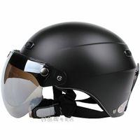 Wholesale H Taiwan quot EVO quot Retro Cycling Helmet Half Face Snow Ski Casque Scooter All Matt Black Casco amp UV quot W quot Lens amp Visor For Summer