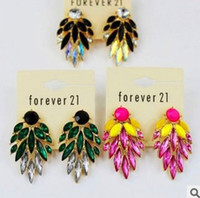 Wholesale Womens Crystal Flowers Earrings Jewelry Hit Color Gemstone Studs pairs Hot Sale