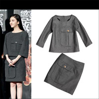 Men Long Sleeve Maternity 2014Spring 2014 new European and American women's wholesale King sweet with big pocket money woolen skirt suit H010601Women' Dress