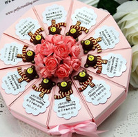 Wholesale New style Custom Made wood bear perfect Candy Boxes Cake Shape flowers Bowknot Ribbon Wedding Favors Party Gift Boxes Holders