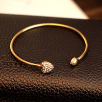 Wholesale Plated Gold Love Heart Bangle Jewelry Womens Rhinestone Charm Bangles Bracelets Blingbling