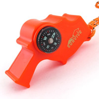 Wholesale 75 mm Multifunctional Survival Storm Whistle with Compass Flintstones Thermometer Lanyard Travel Gadgets SH260