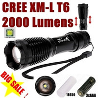 Wholesale Alonefire E007 CREE XM L T6 Lumens Mode LED Zoomable Flashlight torches T6 Lamp Light For AAA