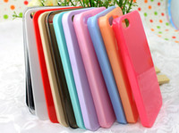 Wholesale 100pcs For iphone S iphone5s Candy Jelly Solid Color Clear Transparent Crystal Hard PC Material Mobile Phone Cases Cover