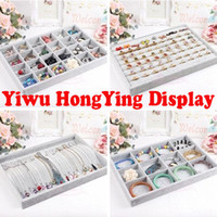 Wholesale Gray high grade Velvet Jewelry Display Tray Ring Holder Necklace Bracelet Tray Earring Display Stand