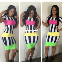 Work addresses for free - New Arrival Colorful Dress for Striped Bandage Dress Women Sexy Eveing Club Miami address Novelty Outfit
