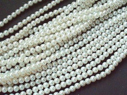 Wholesale 8MM White Glass Faux Pearl Loose Beads Fit European Bracelets DIY Jewelry Accessories