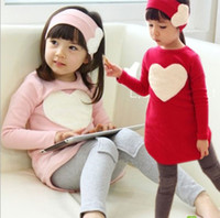 Girl Spring / Autumn Long 2014 Spring And Autumn Child Female Child Long-sleeve T-shirt Trousers Hair Accessory Set Love Clothing Set TZ017