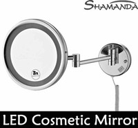 Wholesale High Quality Solid Brass Chrome Bathroom LED Cosmetic Mirror In Wall Mounted Mirrors Bathroom Accessories Product