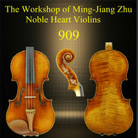 Spruce from European Ebony Good flame from European Wholesale - Free shipping 4 4 909 handmade violin of Ming-Jiang Zhu Workshop