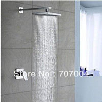 Wholesale Chrome Finish Wall Mounted Bath Bathroom inch Square Rain Shower Faucet Set Mixer Tap Single Handle No Sliding Bar