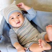 Unisex Summer  Wholesale - Marc janie autumn and winter baby cotton thermal cashmere yarn baby stripe bodysuit romper 804