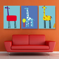 Cheap Wholesale - Free shipping 3 Pieces Modern Wall Painting Giraffe Painting For Kid Home Decorative Art Picture Paint on Canvas Prints
