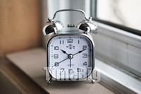 other other other Double- bell alarm clock silver small square metal silver style clock alarm rang the bell ringing big strap backlight