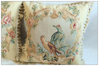 "14'' Desktop 16:9 Wholesale - Hand Woven Wool Aubusson Pillow Cover - Vintage Tropical - 18""x18"" Home Decorative"