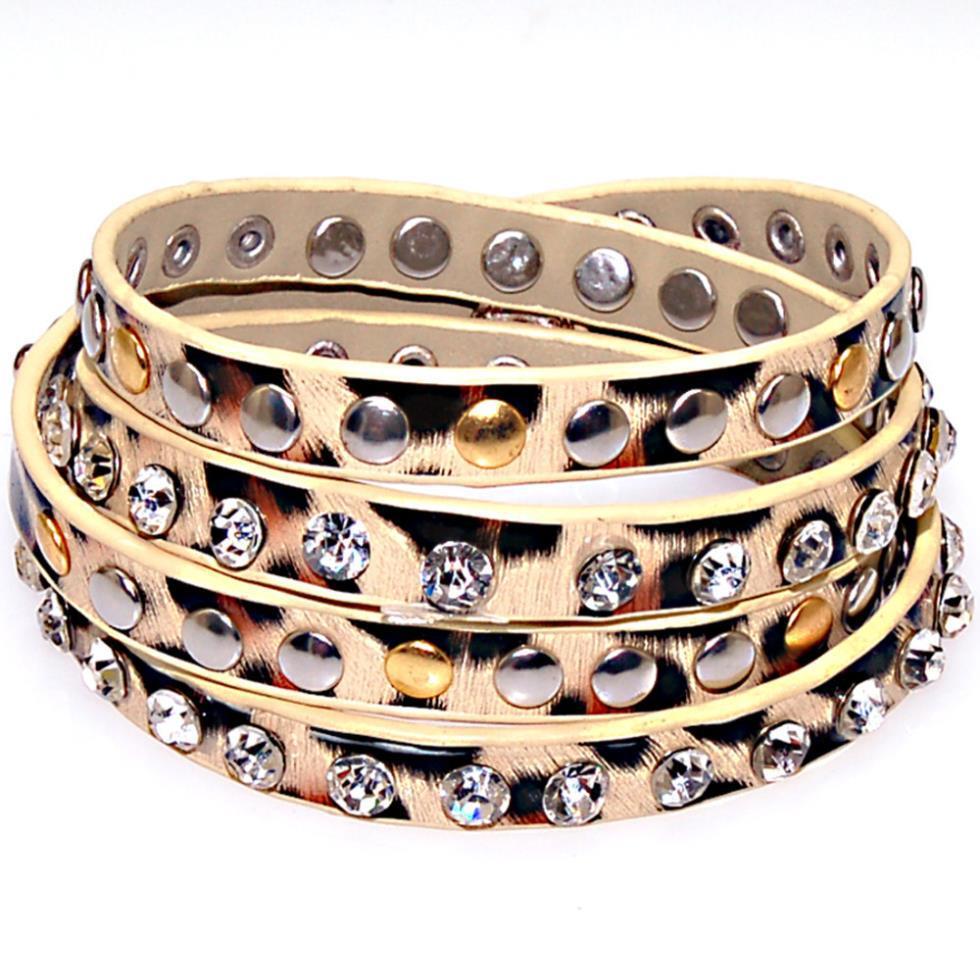 New Fashion Studded Crystal Metal Rivet Leopard Print Pu Leather Bracelets,leather  Wrap Bracelets,leopard Print Wrap Bracelet Wrap Bracelet Wrap Bracetlets