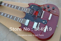 Red Solid Left-handed Wholesale - Free shipping Led Zeppeli Page 1275 Double Neck red body 12 strings guitar HOT SALE