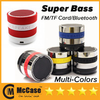 Wholesale New Super Bass Mini Portable BeatBox Bluetooth Wireless Speaker Slot Handfree Mic Stereo Portable Speakers TF Card FM Radio Call Function