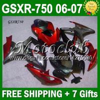 Precio de Suzuki gsxr750 fairing-7Gifts negro rojo oscuro + Cowl Fit SUZUKI GSXR750 K6 06 07 2006 2007 GSXR-750 GSX-R750 JM10495 GSXR 750 06-07 rojo negro de encargo libre carenado