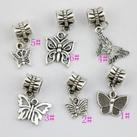 Wholesale 120pcs Mixed Tibetan Silver Butterfly Dangle Beads Fit European Charm Bracelet DIY