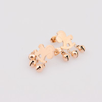 Wholesale 2014 new rose gold plated little bells horse stud earrings L stainless steel lucky horse ear studs jewelry for women girl