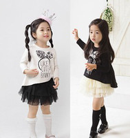 Girl Spring / Autumn Long 2014 Spring Baby Girls Fishtail Tops Shirt + Tiered Lace Tutu Skirts 2pcs Outfits Black White Korean Kids Clothes B2908
