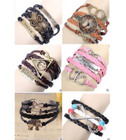 Wholesale Womens Mens Multilayer Leather Wrap Bracelet Personalized Charm Bracelets Wristbands Jewelry New