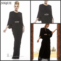 Reference Images Crew Chiffon 2014 Janique New Arrival Dubai Kaftan Abaya Bell Sleeve Long Evening Dress