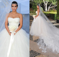 Ball Gown Reference Images Sweetheart Kim Kardashian Ball Gown Sweetheart Lace Corset Lace-up Chapel Train Puffy Tulle Designer Bridal Gown 2014 Chinese Wedding Dress DL1310634