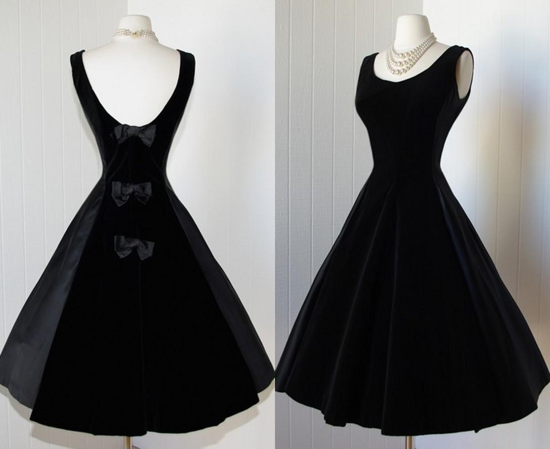 Delicate Black Satin Prom Dresses 2014 Scoop Tea Length Backless ...