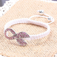 Charm Bracelets Women's  30PCS Silver Tone Pink Pave Crystal Rhinestone Ribbon Knitted Adjust Bracelet Breast Cancer Awareness Connector Macrame Bracelets