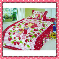 Wholesale Strawberry Grils Cartoon Cotton children Bedding Set Kid Bedding