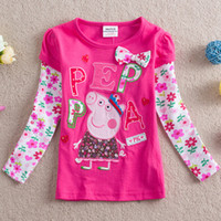 Girl Spring / Autumn Standard Wholesale - Free Shipping 2014 NOVA new fashion Girls Peppa Pig George Pig T-shirt 100% Cotton children's shirt long sleeve clothes 5pcs lot