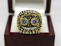 With Side Stones Bezel setting Brass 1975 Pittsburgh Steeler Harris Super Bowl Copper National Football League Cubic Zircon Champion Championship CZ Ring Fans