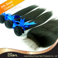 Cheap Free Shipping 4 pcs lot Brazilian Virgin Hair 3 Bundles with Closure 4*4 Bleached Knots Silk Base Closure Rosa Hair Products