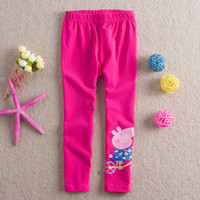 Leggings & Tights Girl Spring / Autumn Wholesale - Free shipping 2014 New coming girls Peppa Pig pants Four colors children's trousers cute girl clothes erbaby 5pcs lot