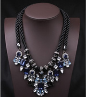 Wholesale Womens Luxury Gemstone Crystal Statement Necklace Black Rope Chains False Collar Necklaces Jewelry