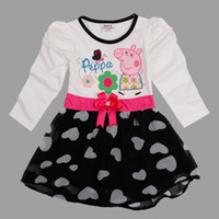 Wholesale Nova latest Peppa pig clothes m y cute baby girls dresses cotton long puff sleeves autumn spring printing tops with bow