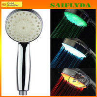 7 color changing battery shower lights - RGB automatic color changing lighted bathroom LED shower head glow in the dark no battery led shower head water flow power