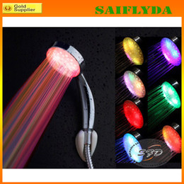 Wholesale 7 colors changing Automatic RGB LED Light Shower Head Water flashing bathroom shower heads