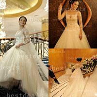 Vintage sheer lace Ball gown wedding dresses high neck Appli...