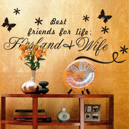 Wholesale Best Friends For Life Husband Wife Quotes Wall Decals Black Butterflies Stickers For Living Room Bedroom Decor