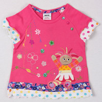 Wholesale kids wear m y Baby girls T shirts cartoon clothing in the night garden embroidery cotton floral hem slamon red summer tops