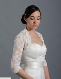 Wholesale 2014 New Long Sleeve Wedding Bolero Jacket Custom Stock Fashion Encryption Alencon Lace Jacket J1445