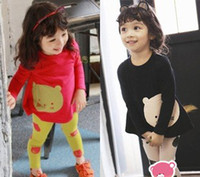 Girl Spring / Autumn Long 2014 Korean cotton spring Autumn Girls Bear T-shirt + leggings + headband three-piece 44004 sets Kids Baby Clothing FREE SHIP BY DHL Fedex