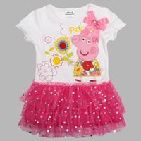 Wholesale Nova new m y baby girls peppa pig flower corsage tutu lace sequins cupcake dresses cotton elastic cuff summer tunic tops dress
